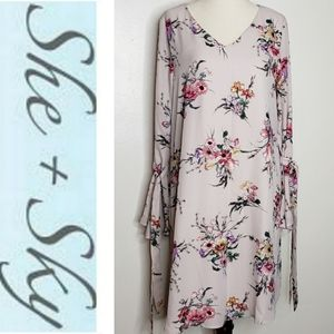She&Sky Dress Lilac Floral Bell Sleeve Ties